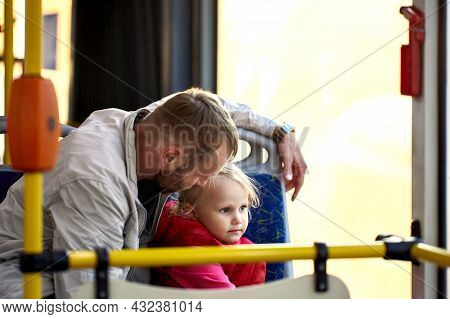 Sad Little Girl In City Bus Listens To Her Dads Story.