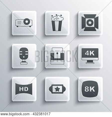 Set Cinema Ticket, 8k Ultra Hd, Screen Tv With 4k, Chair, Hd Movie, Tape, Frame, Microphone, Movie,