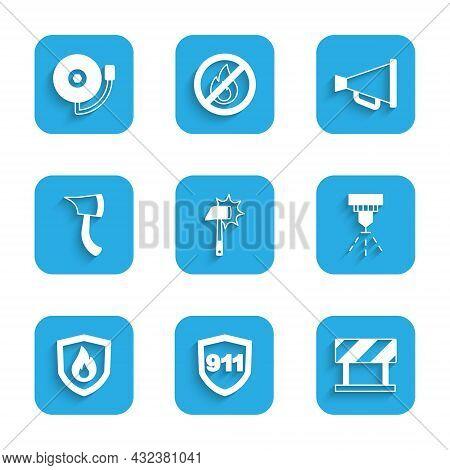 Set Firefighter Axe, Emergency Call 911, Road Barrier, Sprinkler System, Protection Shield, Megaphon