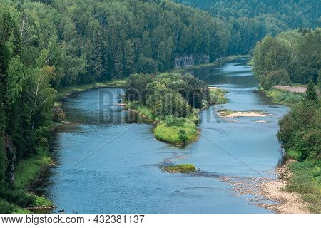 Mountain River Among Wooded Banks, The Usva River In The Perm Krai, Russia