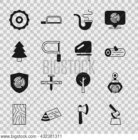 Set Wooden Axe In Stump, Grapple Crane Grabbed Log, Logs, Smoking Pipe, Hacksaw, Christmas Tree, Irc