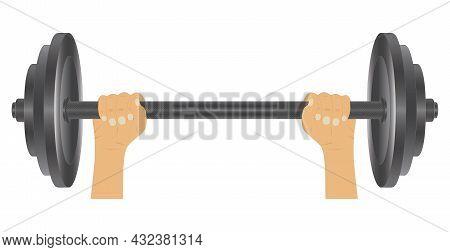 Barbell In Hand. Fitness Sport. Bodybuilding Sport.