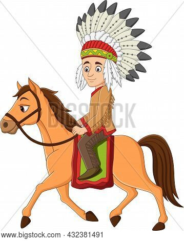 Vector Illustration Of Cartoon Indian American Riding On A Horse