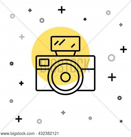 Black Line Photo Camera With Lighting Flash Icon Isolated On White Background. Foto Camera. Digital