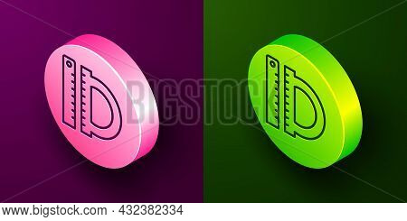 Isometric Line Protractor Grid For Measuring Degrees Icon Isolated On Purple And Green Background. T