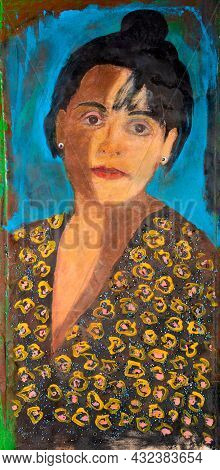 Original Oil Painting Portrait Of Young Woman With Yin And Yang Symbolic Shadows On Her Face And Nec