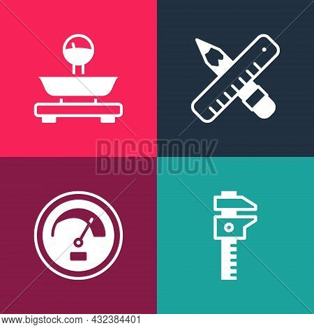 Set Pop Art Calliper Or Caliper And Scale, Speedometer, Crossed Ruler Pencil And Scales Icon. Vector