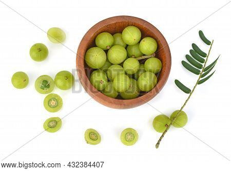 Top View Of Indian Gooseberry Isolated On White Background
