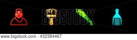 Set Client In Barbershop, Shaving Brush, Electrical Hair Clipper And Barrette Icon. Vector