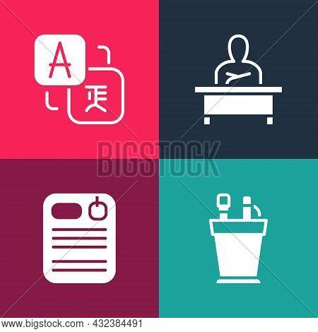 Set Pop Art Pencil Case Stationery, Dossier Folder, Schoolboy Sitting Desk And Translator Icon. Vect