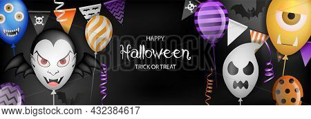 Happy Halloween Banner With Party Balloons, Pennants And Streamers