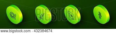Set Isometric Line Tire Pressure Gauge, Windscreen Wiper, Automotive Turbocharger And Car Spark Plug
