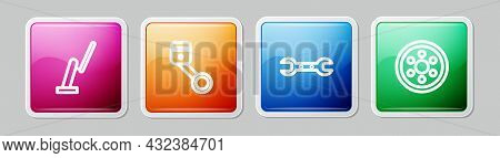 Set Line Windscreen Wiper, Engine Piston, Wrench Spanner And Alloy Wheel. Colorful Square Button. Ve