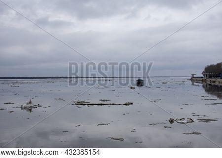 Khabarovsk. Spring 2021. Ice Drift On The Amur River