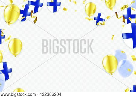 Finland Independence Day Poster. Patriotic Holiday. Finland Balloons