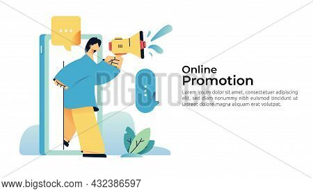 People Character Shout Megaphone. Social Media Marketing And Referral A Friend Business Partnership