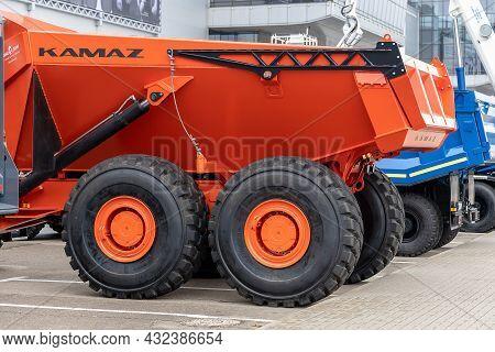 The Heavy Hybrid Dump Truck Kamaz-6561 Hercules, Rear View. Sensors, Cameras And Radars For The Self