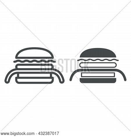 Burger Kuro Ninja Line And Solid Icon, Asian Food Concept, Black Ninja Vector Sign On White Backgrou