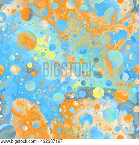 Seamless Pattern Of Marbled Orbs That Gives A Dreamy Fantasy Mysterious Feel.