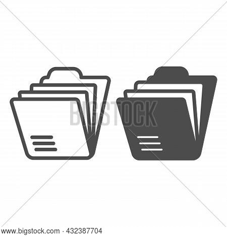 Folder With Paper Sheets, Archival Documents Line And Solid Icon, Documents Concept, Files Vector Si