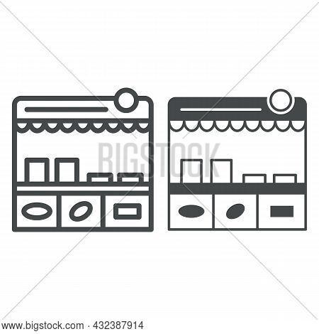Fast Food Stall Line And Solid Icon, Asian Food Concept, Korean Kiosk Vector Sign On White Backgroun