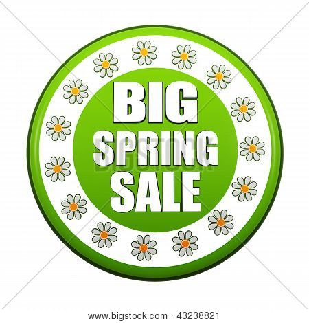Big Spring Sale Green Circle Label With Flowers