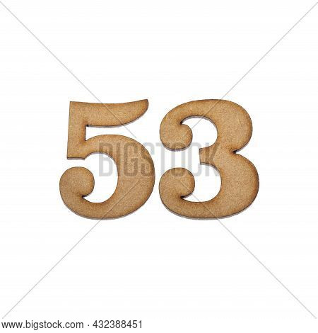 Number 53 In Wood, Isolated On White Background