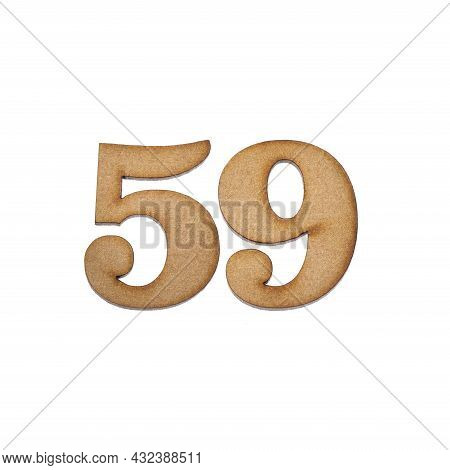 Number 59 In Wood, Isolated On White Background