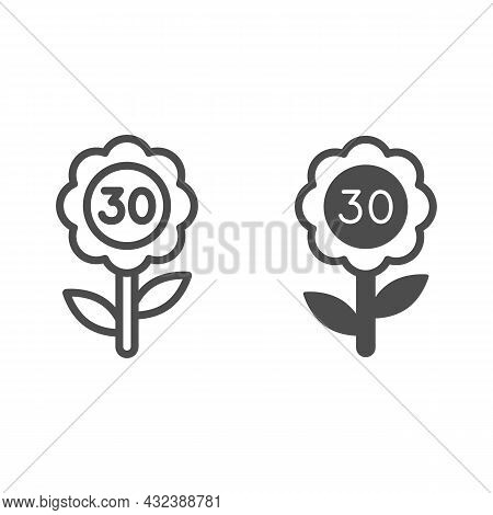 Flower With Number 30 Line And Solid Icon, Love And Relationship Concept, Flower With Thirty Vector