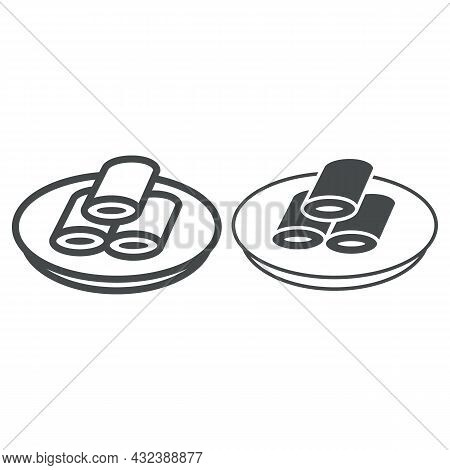 Pancakes With Filling Line And Solid Icon, Asian Food Concept, Stuffed Pancakes On Plate Vector Sign