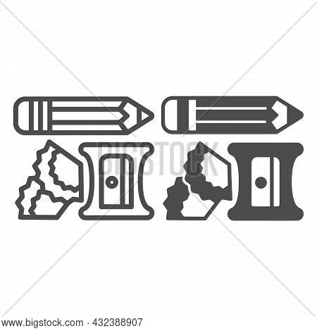 Pencil, Sharpener And Shavings Line And Solid Icon, Office Supplies Concept, Writing Implements Vect