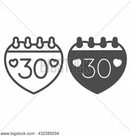 Calendar With Number 30 And Two Hearts Line And Solid Icon, Anniversary Concept, Day Thirty Vector S