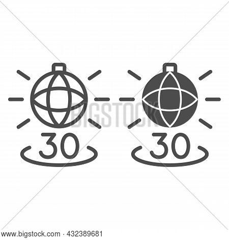 Disko Ball Shining And Number 30 Line And Solid Icon, Anniversary Concept, Party Over Thirty Vector