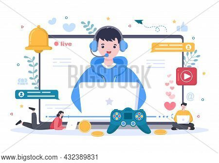 Video Game Blogger Content Creator Background With Man Use Headset Making Video Online Or Playing Ga
