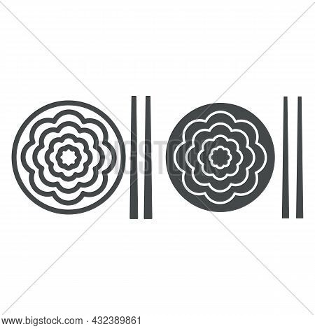 Fried Yakisoba Noodles Line And Solid Icon, Asian Food Concept, Chinese Noodle Stir Fry Dish Vector