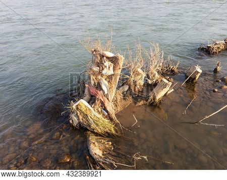 Flood Cuts Trees In The River Swat