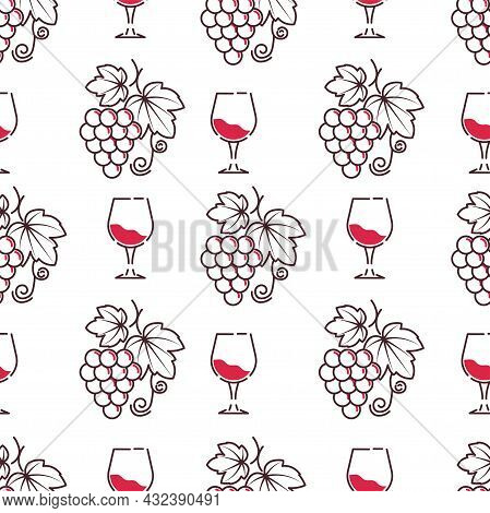 Winery And Wine Tasting Degustation Pattern Vector