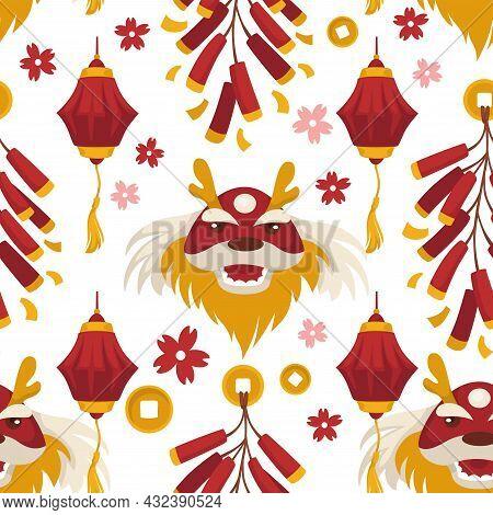 Chinese Mythology And Symbols, Red Dragon Pattern