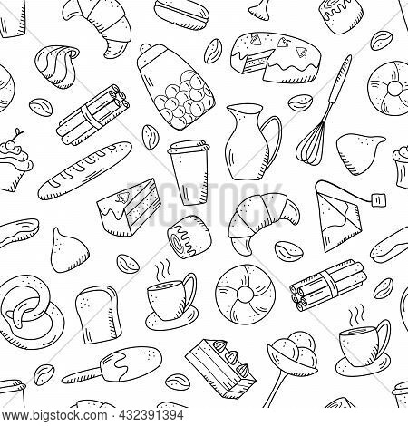 Seamless Pattern Vector Elements Of Sweet Snacks And Pastries, Coffee Dishes. Excellent For Decorati