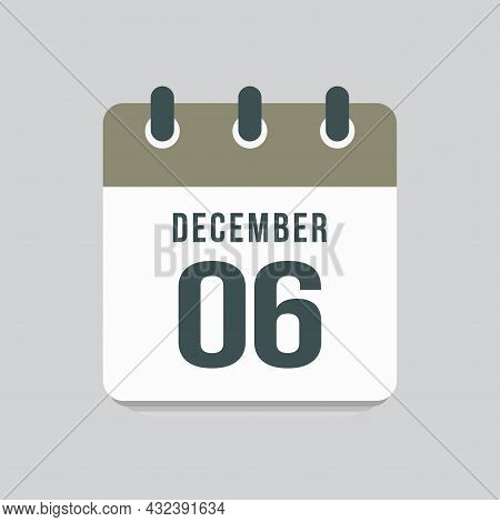 Icon Day Date 6 December, Template Calendar Page