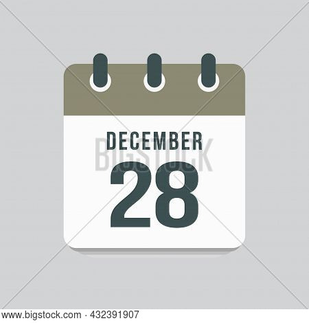 Icon Day Date 28 December, Template Calendar Page