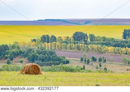 A Lonely, One Round Haystack Lies In A Meadow Against The Background Of Many Hills, Trees And Agricu