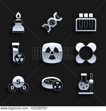 Set Radioactive, Test Tube With Toxic Liquid, Flask On Stand, Molecule, Sulfur Dioxide So2, And Alco