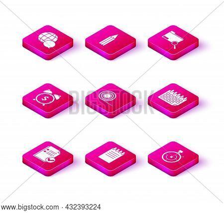 Set Document And Check Mark, Notebook, Alarm Clock With Dollar Symbol, Scotch, Briefcase, Calendar,