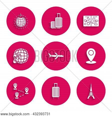 Set Plane, Suitcase For Travel, Eiffel Tower, Map Pin, Route Location, Globe With Flying Plane, Pass