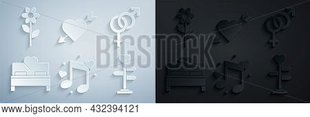 Set Music Note, Tone With Hearts, Gender, Bedroom, Signpost, Amour Symbol And Arrow And Flower Icon.