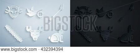 Set Moose Head With Horns, Flame Arrow, Hunting Cartridge Belt Cartridges, Rabbit, On Duck Crosshair