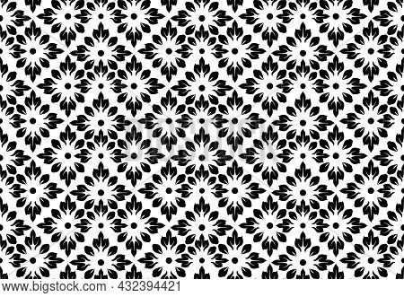 Flower Geometric Pattern. Seamless Background. White And Black Ornament. Ornament For Fabric, Wallpa