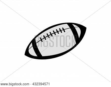 Rugby Ball. Sports Equipment For Athletes. Isolated On White Background. Symbol, Icon. Monochrome Il