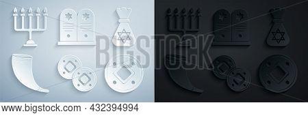 Set Jewish Coin, Money Bag With Star Of David, Traditional Ram Horn, Shofar, Tombstone And Hanukkah